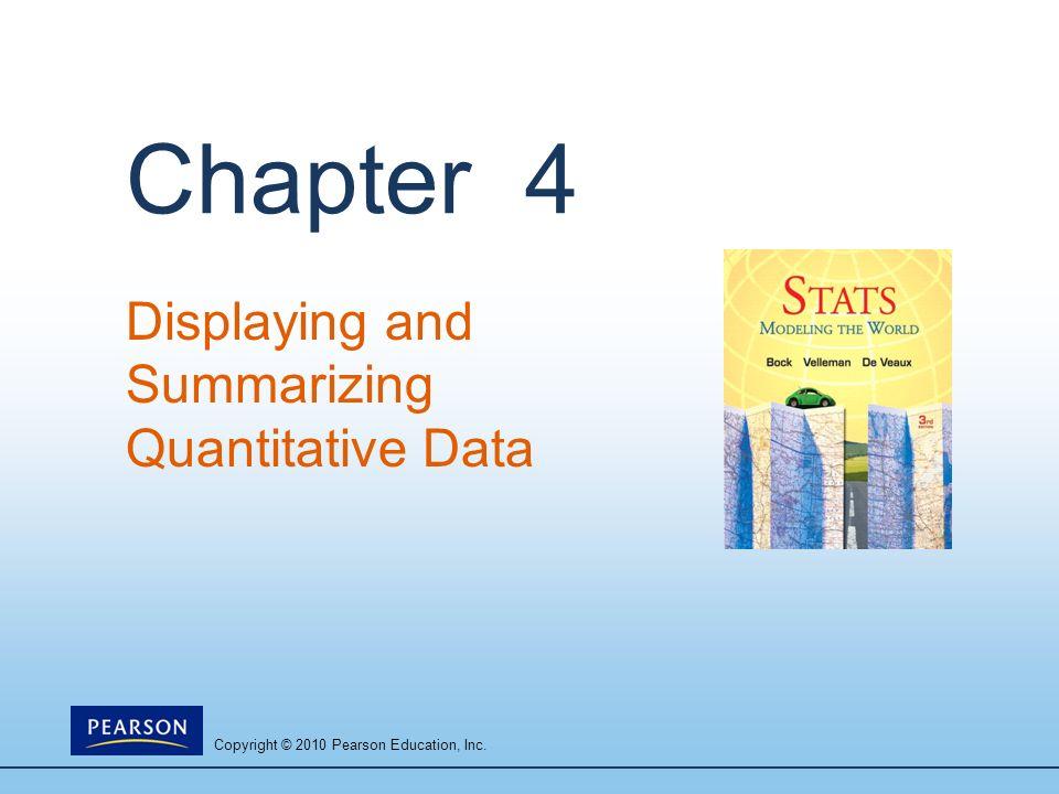 Copyright © 2010 Pearson Education, Inc. Chapter 4 Displaying and Summarizing Quantitative Data