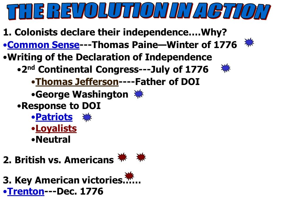notes8 1. Colonists declare their independence….Why? Common Sense---Thomas PaineWinter of 1776 Writing of the Declaration of Independence 2 nd Contine