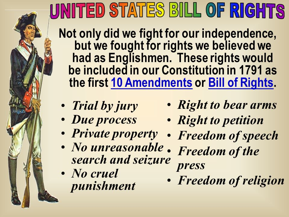 Not only did we fight for our independence, but we fought for rights we believed we had as Englishmen. These rights would be included in our Constitut