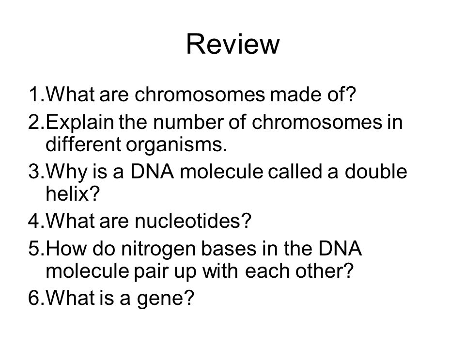 Review 1.What are chromosomes made of? 2.Explain the number of chromosomes in different organisms. 3.Why is a DNA molecule called a double helix? 4.Wh