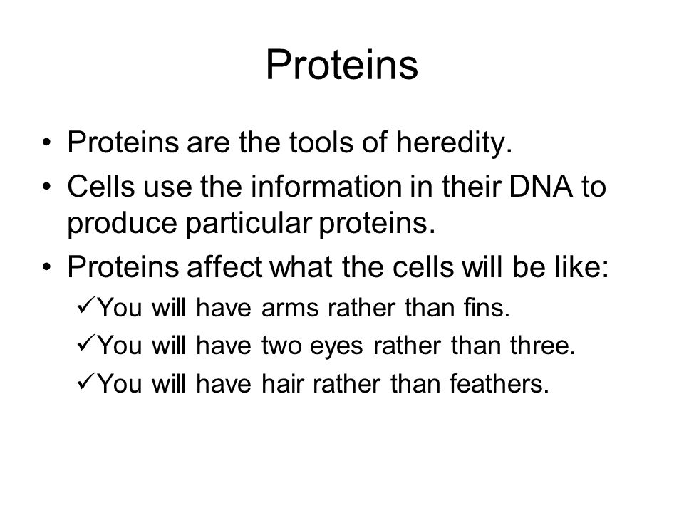 Proteins Proteins are the tools of heredity. Cells use the information in their DNA to produce particular proteins. Proteins affect what the cells wil