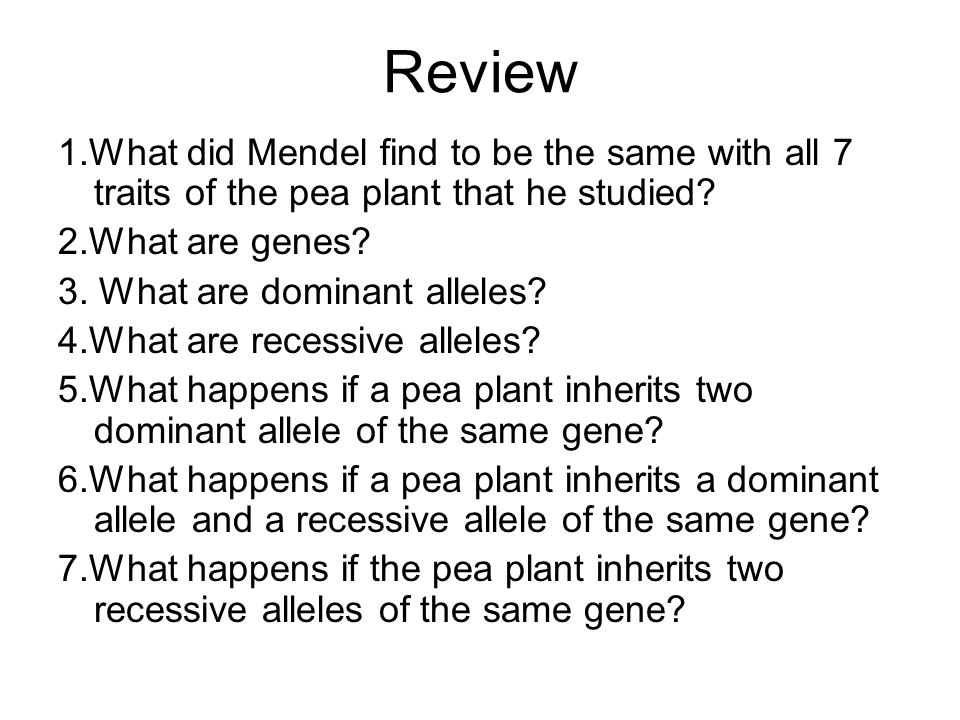 Review 1.What did Mendel find to be the same with all 7 traits of the pea plant that he studied? 2.What are genes? 3. What are dominant alleles? 4.Wha