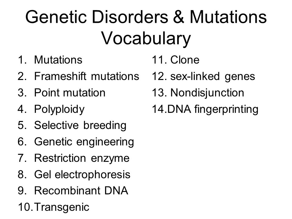Genetic Disorders & Mutations Vocabulary 1.Mutations 2.Frameshift mutations 3.Point mutation 4.Polyploidy 5.Selective breeding 6.Genetic engineering 7