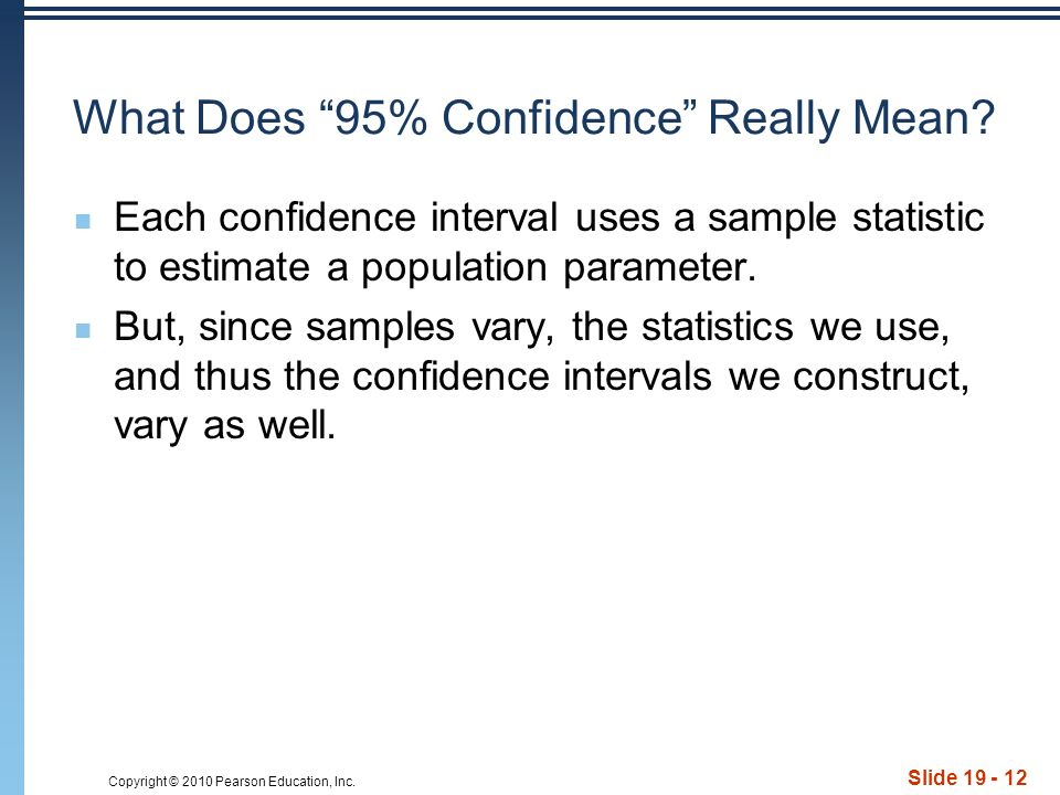 Copyright © 2010 Pearson Education, Inc. Slide 19 - 12 What Does 95% Confidence Really Mean.