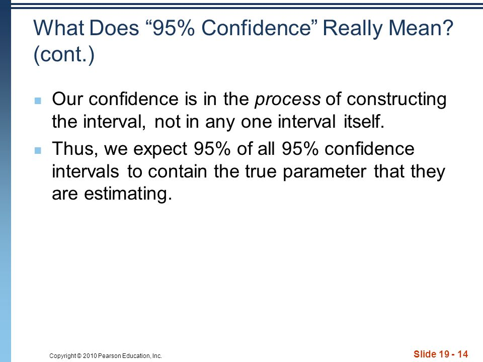 Copyright © 2010 Pearson Education, Inc. Slide 19 - 14 What Does 95% Confidence Really Mean.
