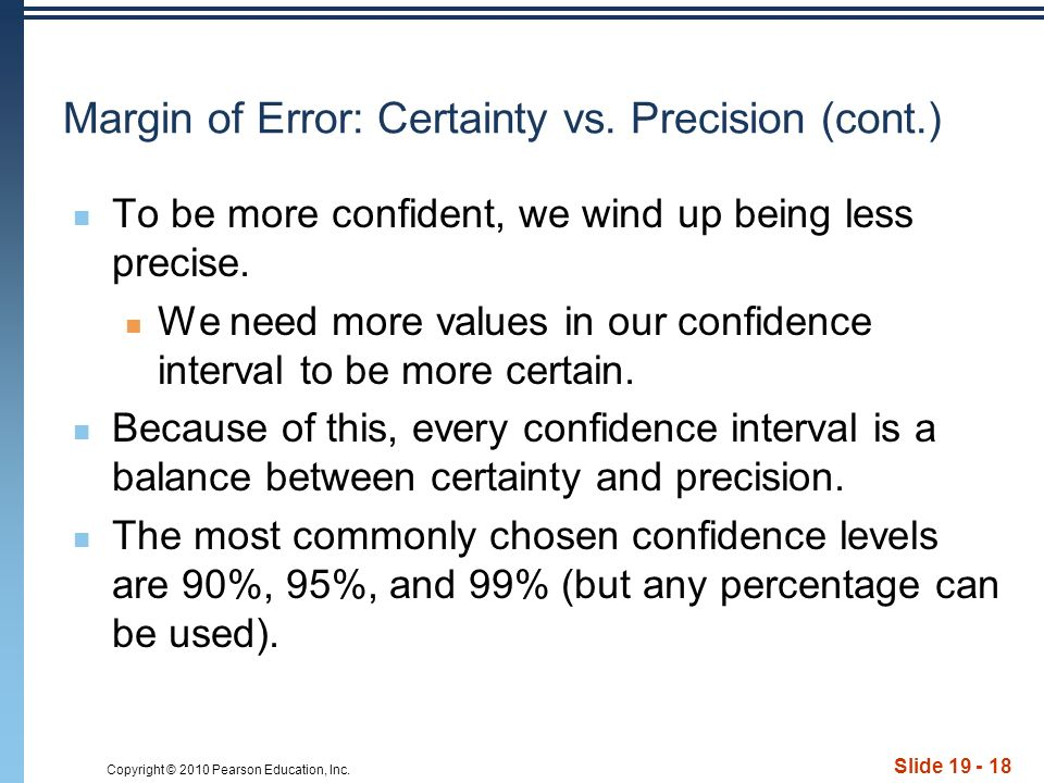 Copyright © 2010 Pearson Education, Inc. Slide Margin of Error: Certainty vs.