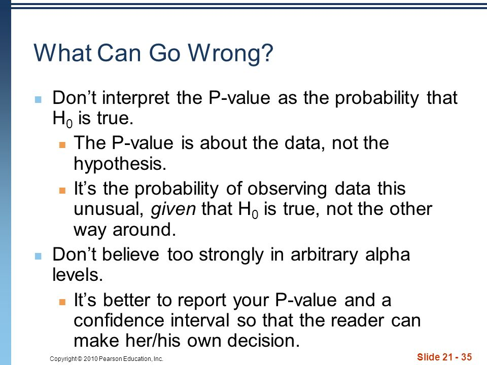 Copyright © 2010 Pearson Education, Inc. Slide 21 - 35 What Can Go Wrong.