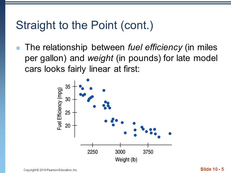 Copyright © 2010 Pearson Education, Inc. Slide 10 - 5 Straight to the Point (cont.) The relationship between fuel efficiency (in miles per gallon) and