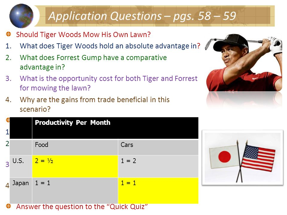 Application Questions – pgs. 58 – 59 Should Tiger Woods Mow His Own Lawn? 1.What does Tiger Woods hold an absolute advantage in? 2.What does Forrest G