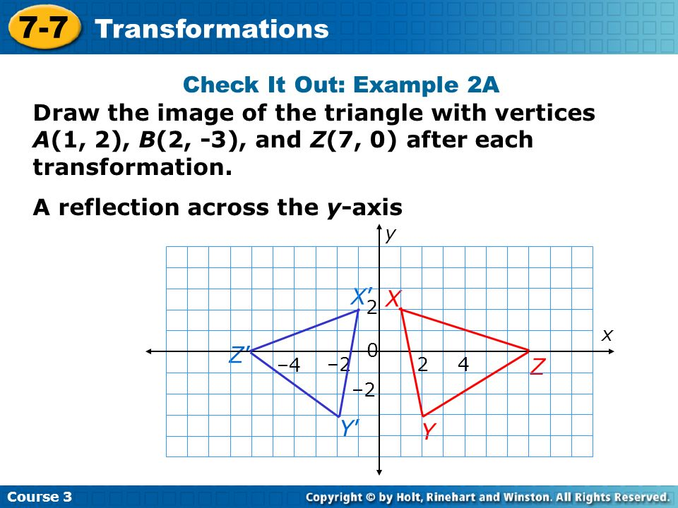 Course 3 7-7 Transformations Check It Out: Example 2A X Y Z Y X Z x y –2 2 0 2 4 –4 Draw the image of the triangle with vertices A(1, 2), B(2, -3), an