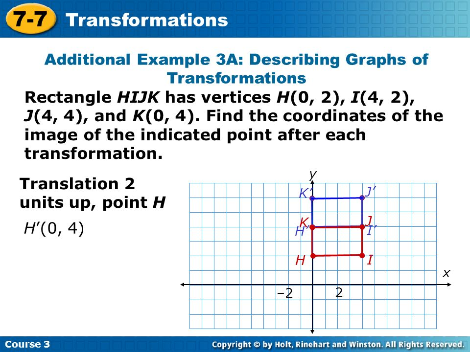 Course 3 7-7 Transformations Additional Example 3A: Describing Graphs of Transformations Rectangle HIJK has vertices H(0, 2), I(4, 2), J(4, 4), and K(