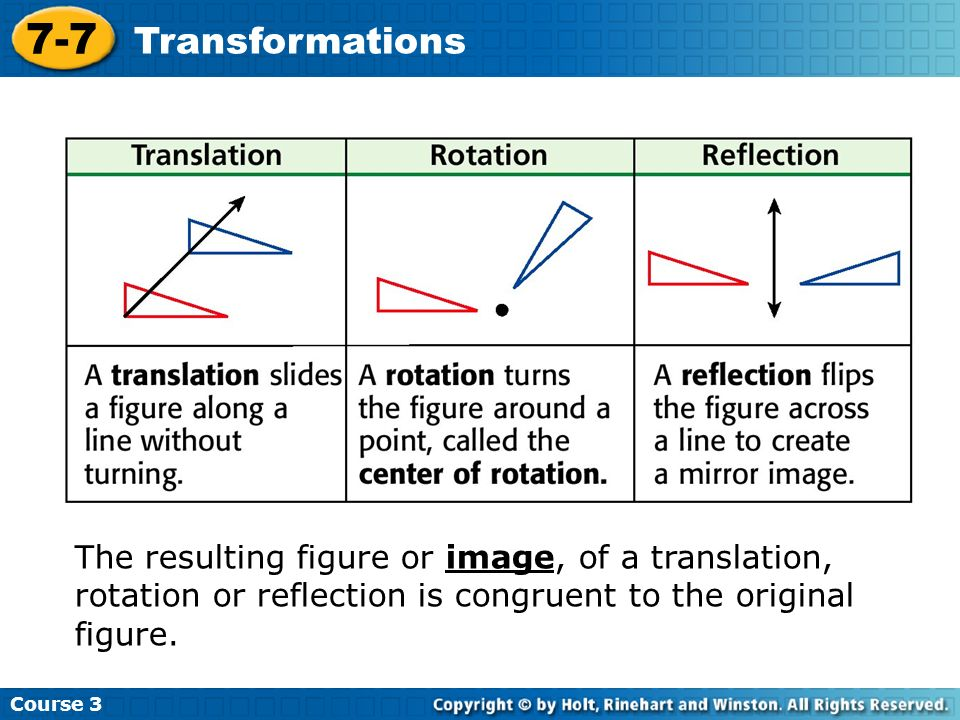 Course 3 7-7 Transformations The resulting figure or image, of a translation, rotation or reflection is congruent to the original figure.