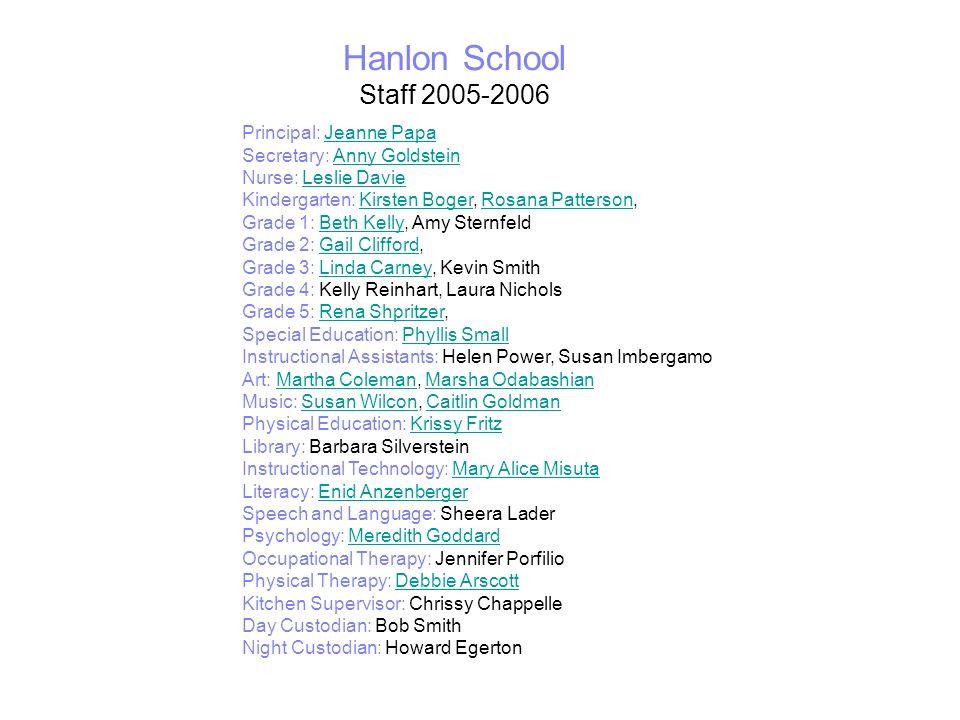 Hanlon School Staff 2005-2006 Principal: Jeanne Papa Secretary: Anny Goldstein Nurse: Leslie Davie Kindergarten: Kirsten Boger, Rosana Patterson, Grad