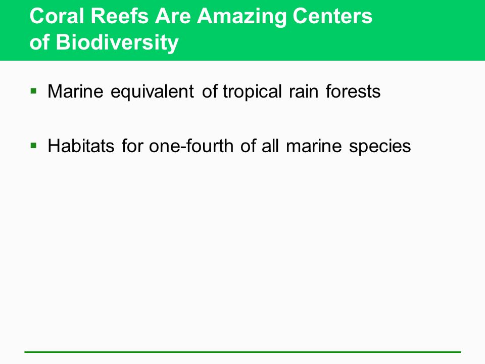 Coral Reefs Are Amazing Centers of Biodiversity Marine equivalent of tropical rain forests Habitats for one-fourth of all marine species