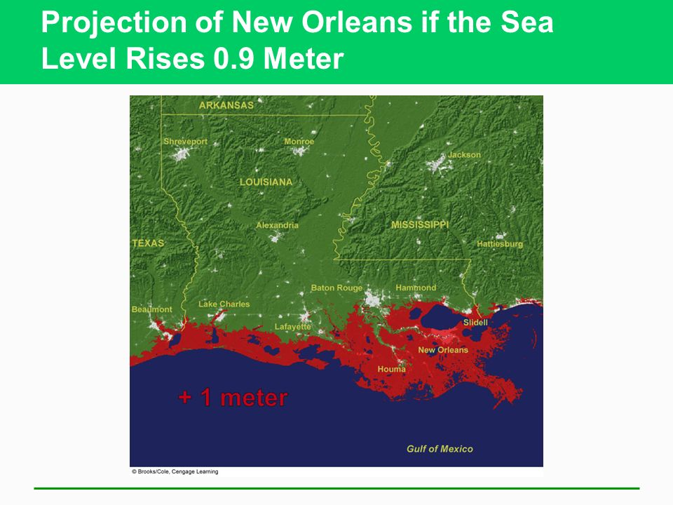 Projection of New Orleans if the Sea Level Rises 0.9 Meter