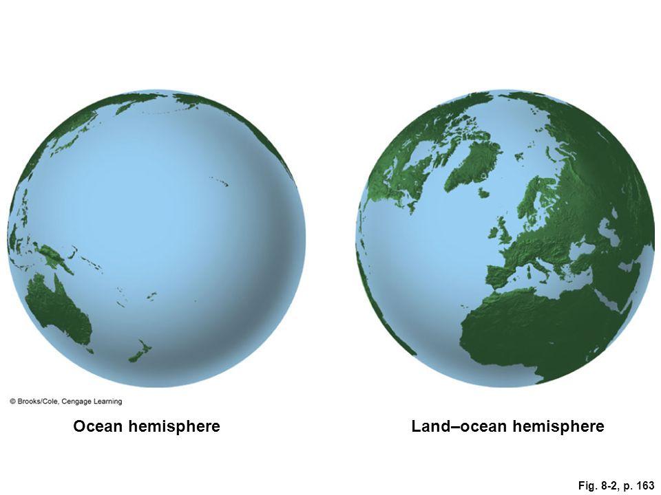 Fig. 8-2, p. 163 Ocean hemisphereLand–ocean hemisphere