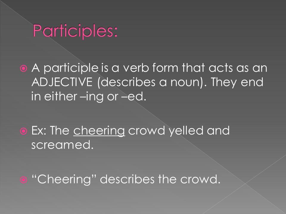 A participle is a verb form that acts as an ADJECTIVE (describes a noun).