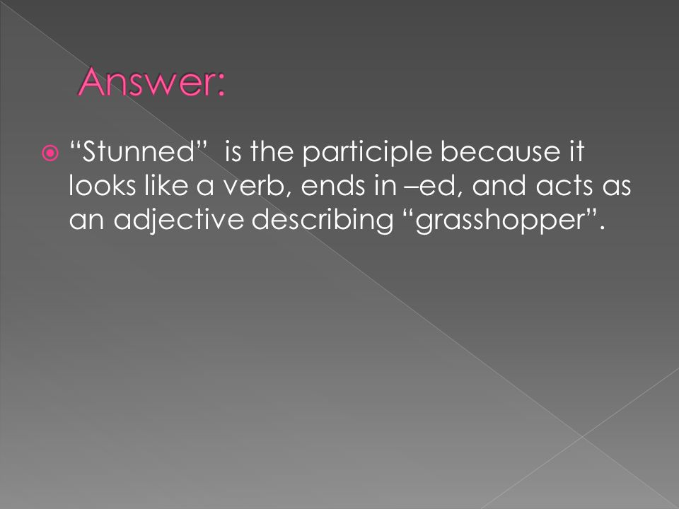 Stunned is the participle because it looks like a verb, ends in –ed, and acts as an adjective describing grasshopper.