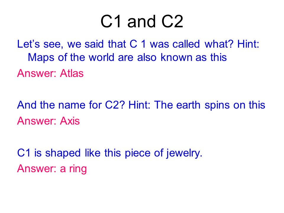 C1 and C2 Lets see, we said that C 1 was called what? Hint: Maps of the world are also known as this Answer: Atlas And the name for C2? Hint: The eart