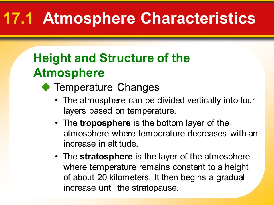 Height and Structure of the Atmosphere 17.1 Atmosphere Characteristics Temperature Changes The atmosphere can be divided vertically into four layers b