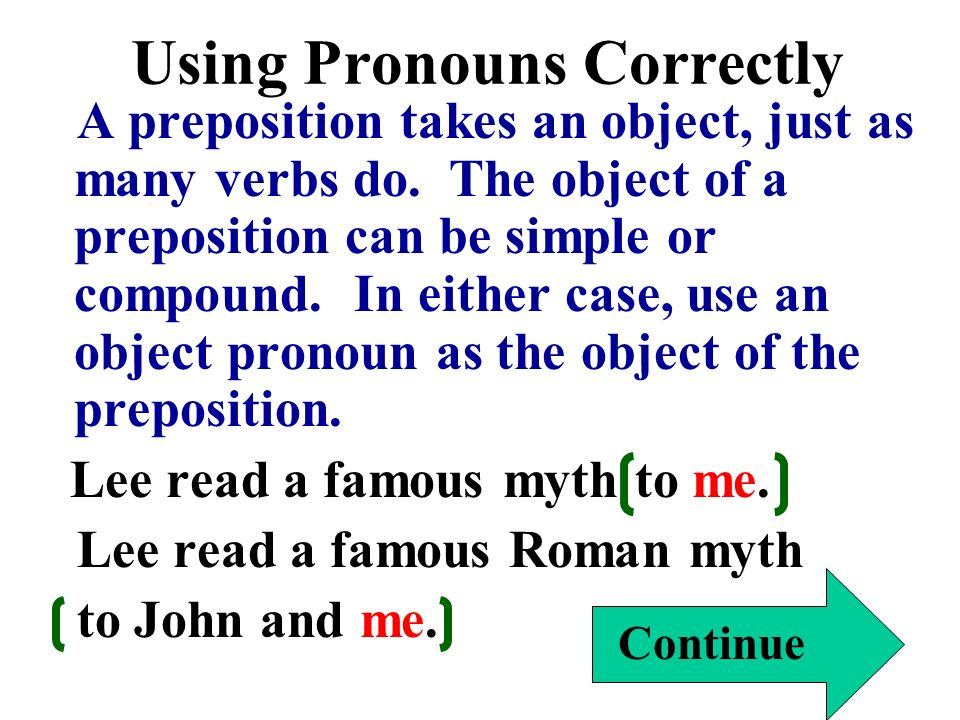Using Pronouns Correctly A preposition takes an object, just as many verbs do. The object of a preposition can be simple or compound. In either case,