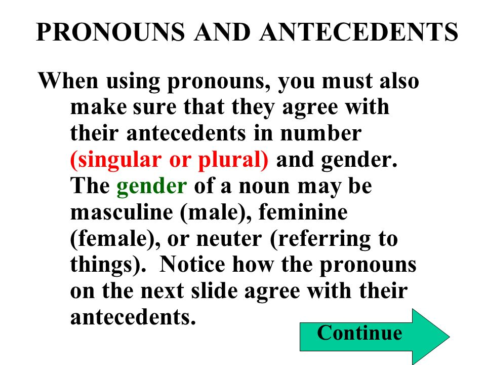 PRONOUNS AND ANTECEDENTS When using pronouns, you must also make sure that they agree with their antecedents in number (singular or plural) and gender