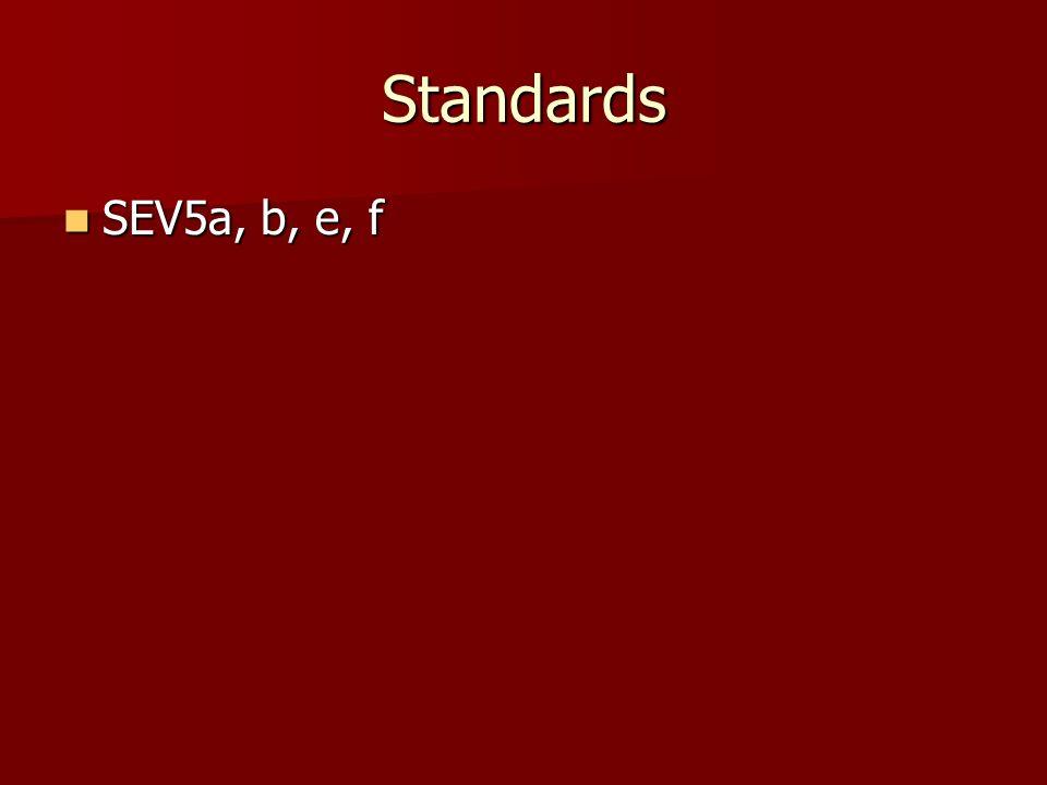 Standards SEV5a, b, e, f SEV5a, b, e, f