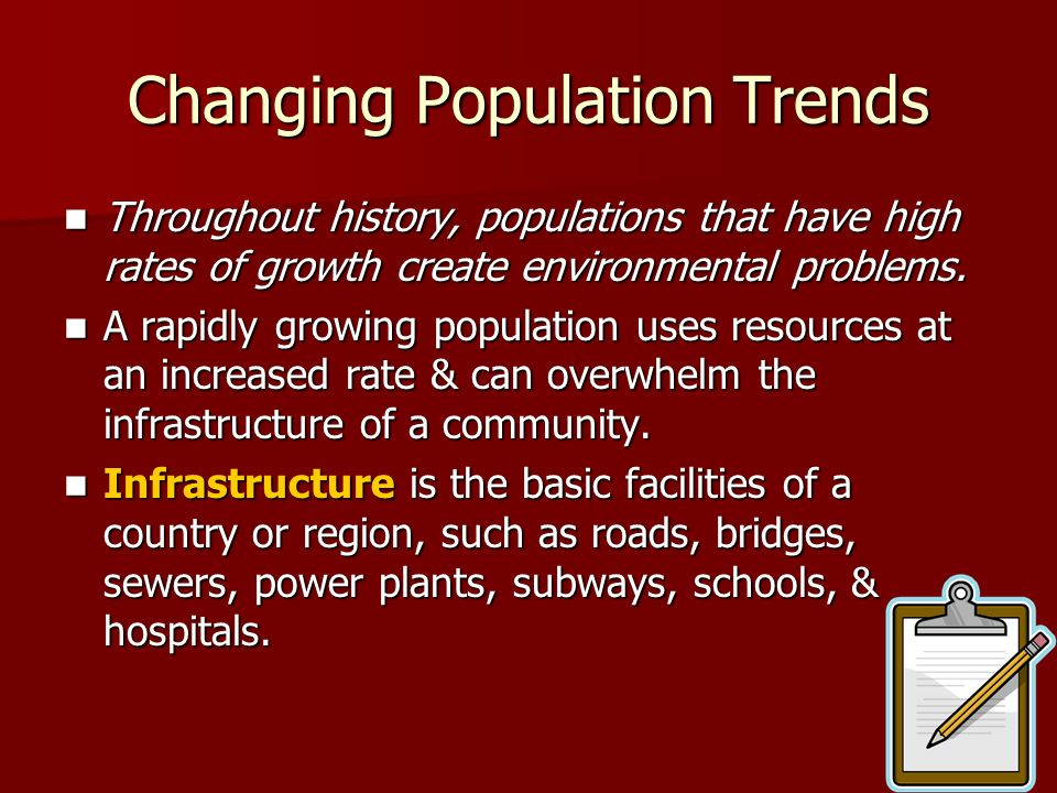 Changing Population Trends Throughout history, populations that have high rates of growth create environmental problems. Throughout history, populatio