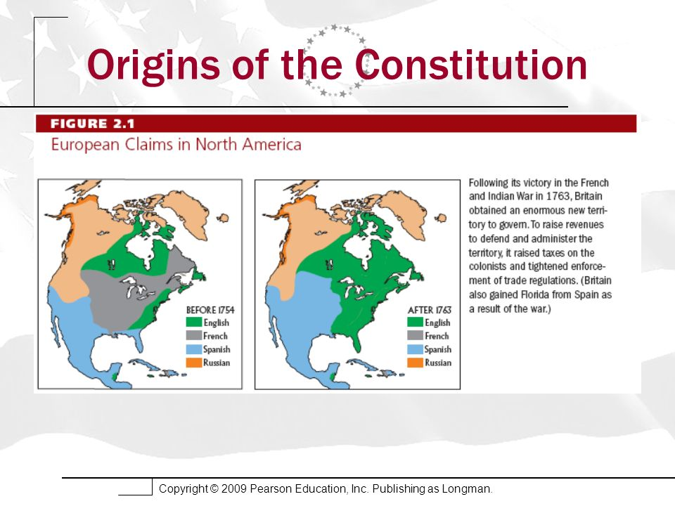 Copyright © 2009 Pearson Education, Inc. Publishing as Longman. Origins of the Constitution