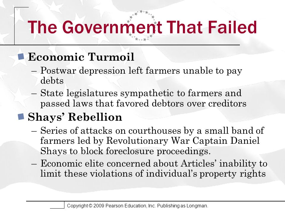 Copyright © 2009 Pearson Education, Inc. Publishing as Longman. The Government That Failed Economic Turmoil –Postwar depression left farmers unable to