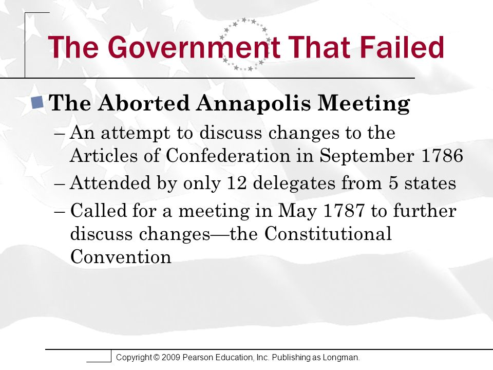 Copyright © 2009 Pearson Education, Inc. Publishing as Longman. The Government That Failed The Aborted Annapolis Meeting –An attempt to discuss change