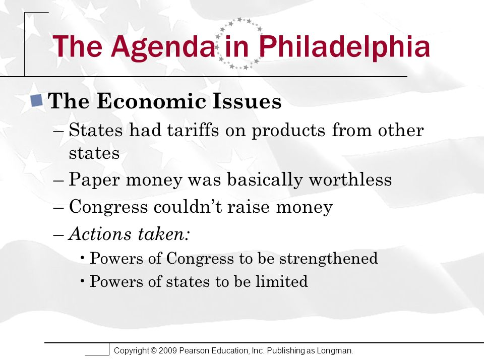 Copyright © 2009 Pearson Education, Inc. Publishing as Longman. The Agenda in Philadelphia The Economic Issues –States had tariffs on products from ot