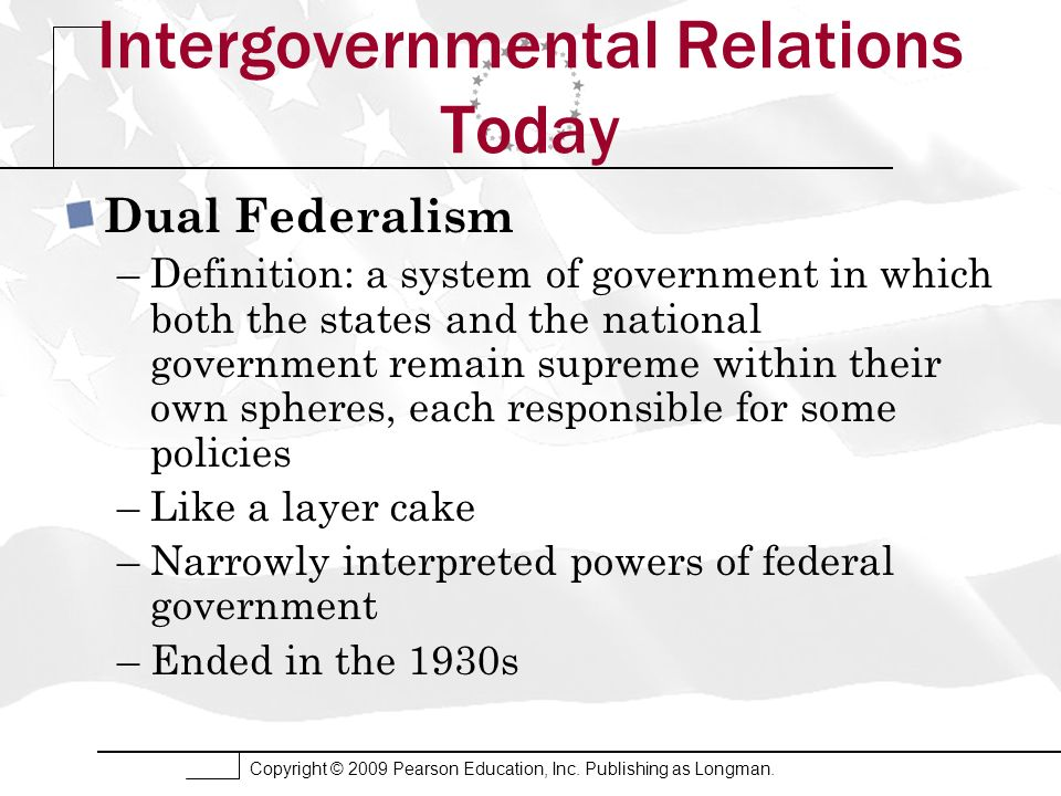 Copyright © 2009 Pearson Education, Inc. Publishing as Longman. Intergovernmental Relations Today Dual Federalism –Definition: a system of government
