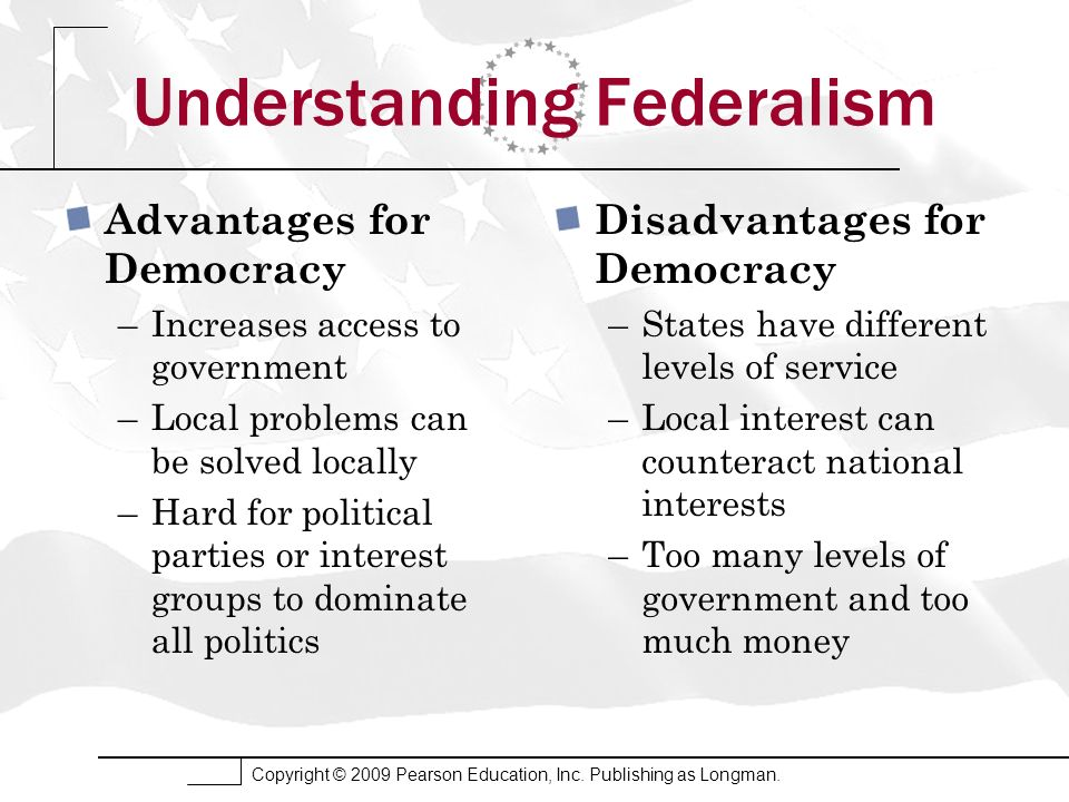 Copyright © 2009 Pearson Education, Inc. Publishing as Longman. Understanding Federalism Advantages for Democracy –Increases access to government –Loc