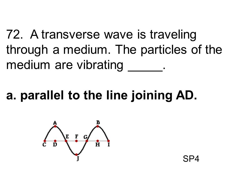 SP4 72. A transverse wave is traveling through a medium. The particles of the medium are vibrating _____. a. parallel to the line joining AD.