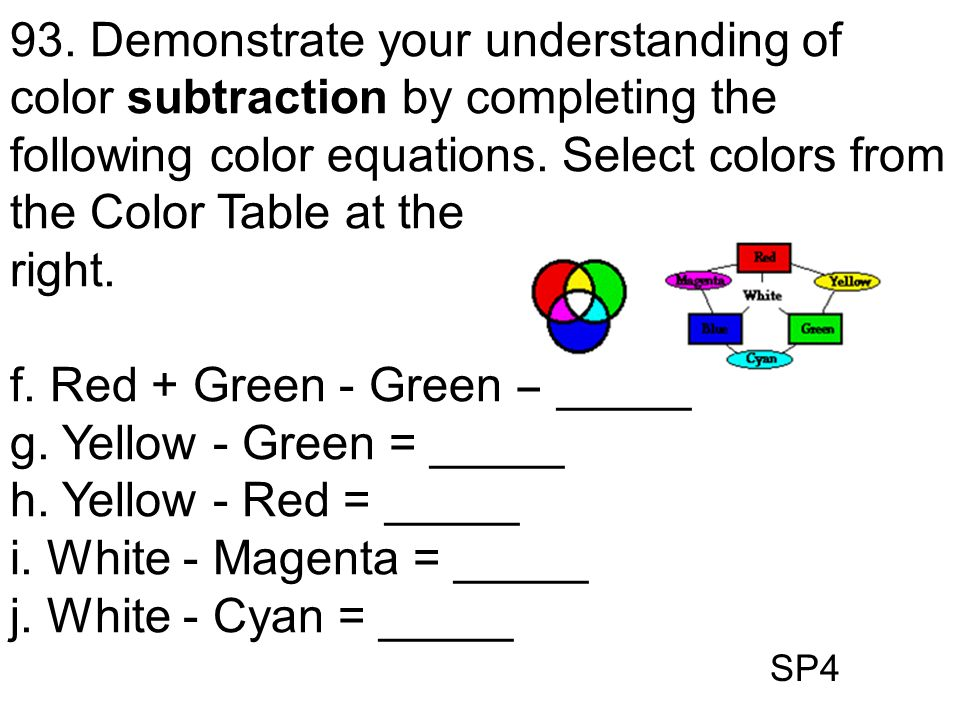 SP4 93. Demonstrate your understanding of color subtraction by completing the following color equations. Select colors from the Color Table at the rig