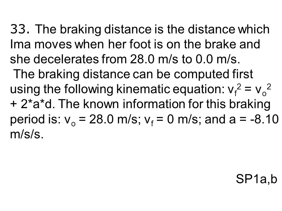 33. The braking distance is the distance which Ima moves when her foot is on the brake and she decelerates from 28.0 m/s to 0.0 m/s. The braking dista