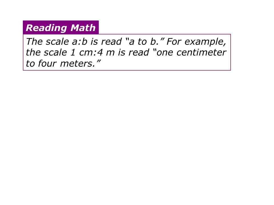 The scale a:b is read a to b. For example, the scale 1 cm:4 m is read one centimeter to four meters. Reading Math