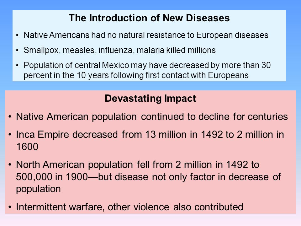 Devastating Impact Native American population continued to decline for centuries Inca Empire decreased from 13 million in 1492 to 2 million in 1600 No