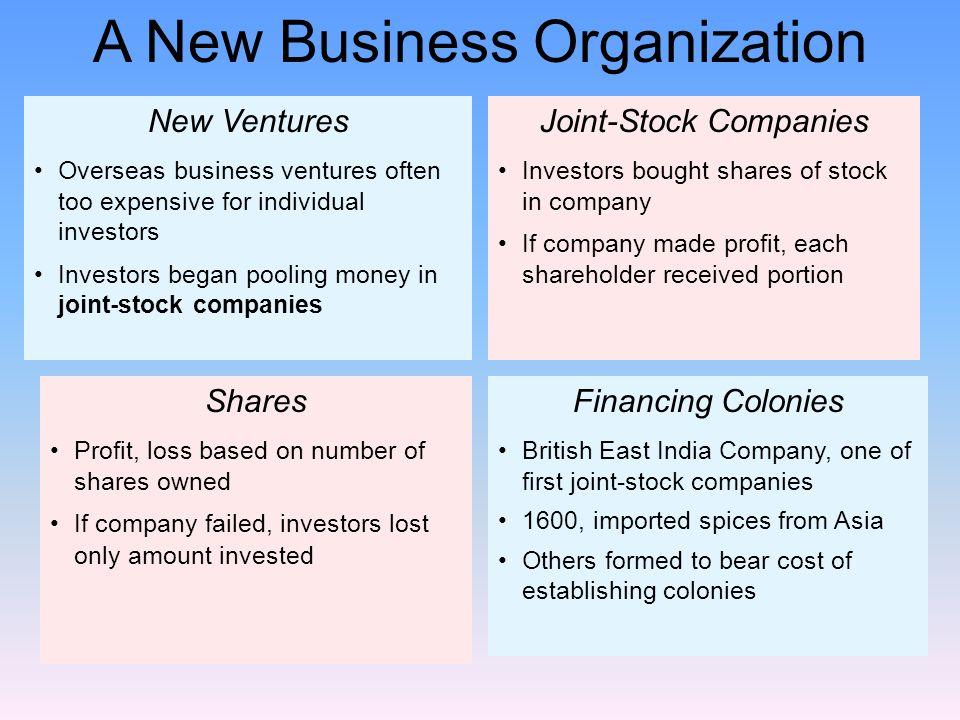 New Ventures Overseas business ventures often too expensive for individual investors Investors began pooling money in joint-stock companies Shares Pro