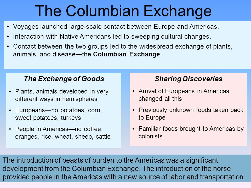 The introduction of beasts of burden to the Americas was a significant development from the Columbian Exchange. The introduction of the horse provided