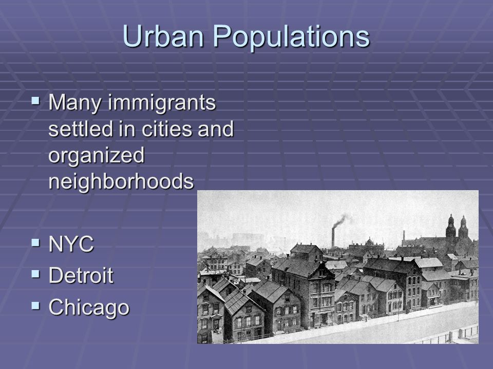 Urban Populations Many immigrants settled in cities and organized neighborhoods Many immigrants settled in cities and organized neighborhoods NYC NYC Detroit Detroit Chicago Chicago