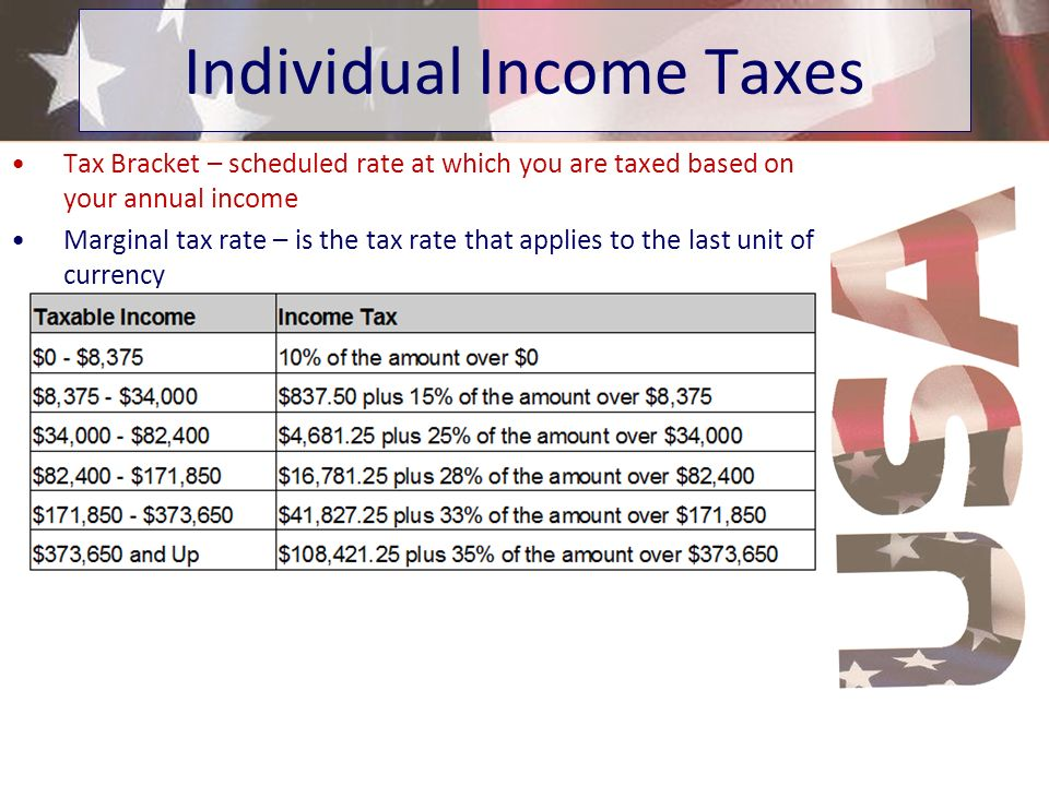 Tax Bracket – scheduled rate at which you are taxed based on your annual income Marginal tax rate – is the tax rate that applies to the last unit of c