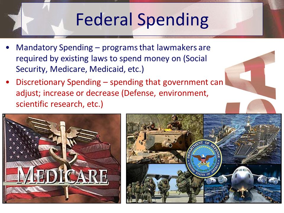 Mandatory Spending – programs that lawmakers are required by existing laws to spend money on (Social Security, Medicare, Medicaid, etc.) Discretionary