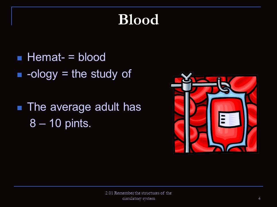 Blood Hemat- = blood -ology = the study of The average adult has 8 – 10 pints. 2.01 Remember the structures of the circulatory system 4