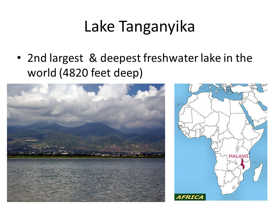 Lake Tanganyika 2nd largest & deepest freshwater lake in the world (4820 feet deep)