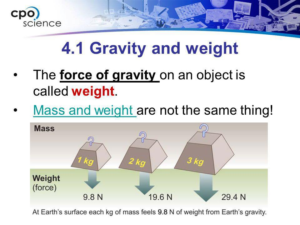 4.1 Gravity and weight The force of gravity on an object is called weight. Mass and weight are not the same thing!Mass and weight