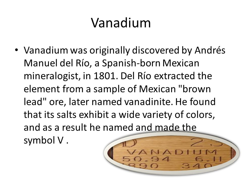 Vanadium The incorporation of vanadium into steels accounts for about 90 percent of U.S It is a soft, silvery gray, ductile transition metal, in its natural form.