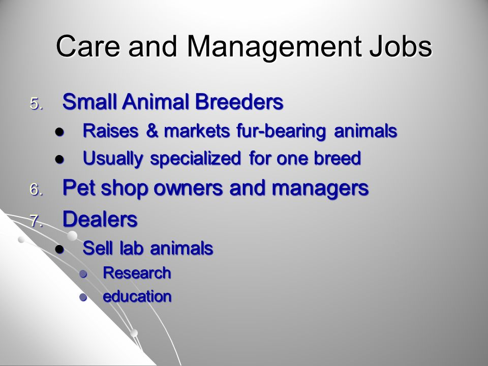Care and Management Jobs 5. Small Animal Breeders Raises & markets fur-bearing animals Raises & markets fur-bearing animals Usually specialized for on