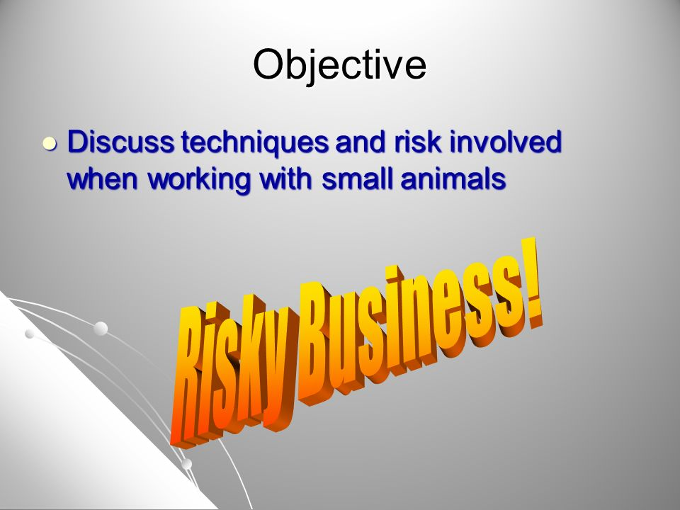 Objective Discuss techniques and risk involved when working with small animals Discuss techniques and risk involved when working with small animals